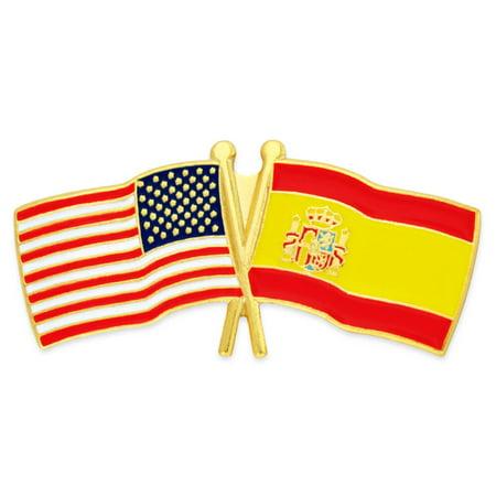 USA and Spain Crossed Friendship Flag Enamel Lapel Pin (Usa Flag Pin)