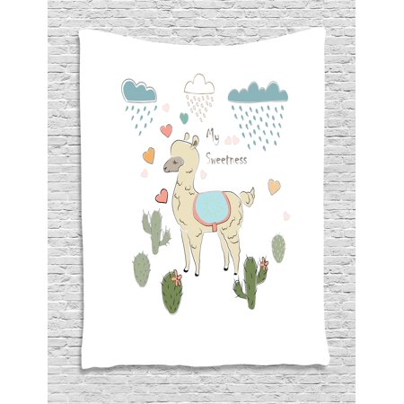 Llama Tapestry, Cute Abstract Alpaca in the Rain with Cactuses Brush Strokes Effect Illustration, Wall Hanging for Bedroom Living Room Dorm Decor, Multicolor, by Ambesonne ()
