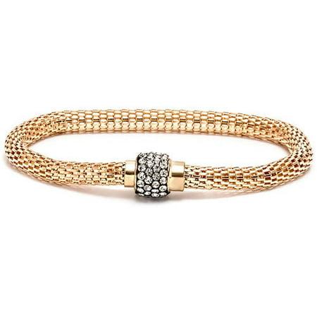 """CZ 18kt Gold-Plated Silver Meshed Bracelet, 7.5"""""""