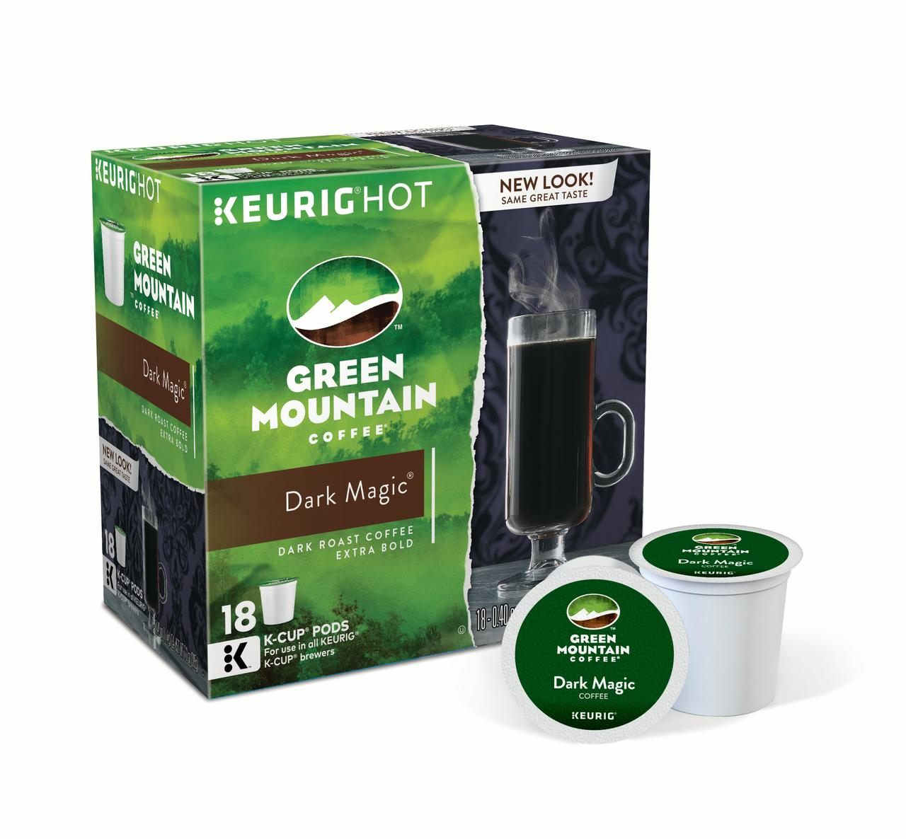 Green Mountain Coffee Dark Magic Keurig Single-Serve K-Cup pods, Dark Roast Coffee, 18