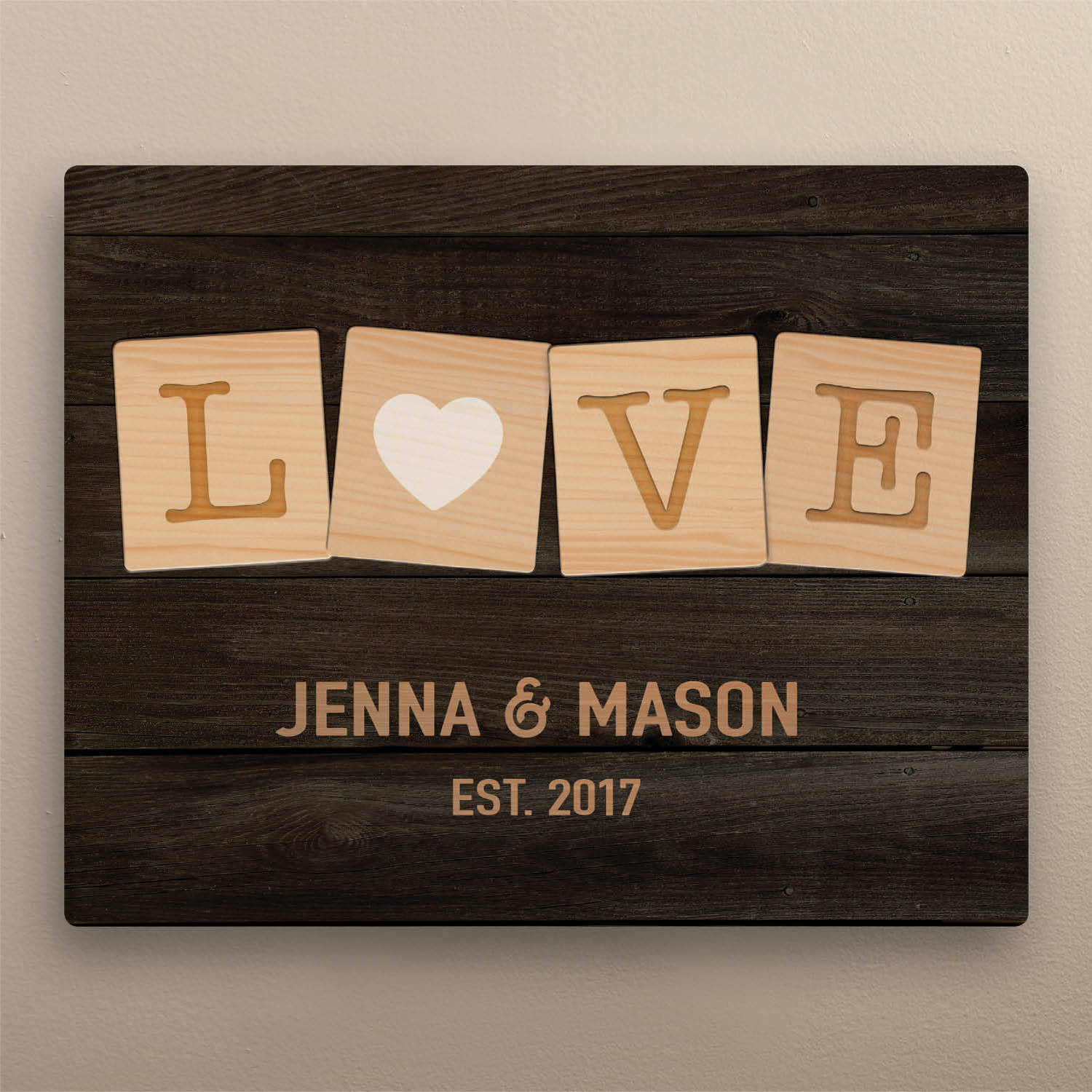 """Love Game Pieces Personalized 11"""" x 14"""" Canvas"""