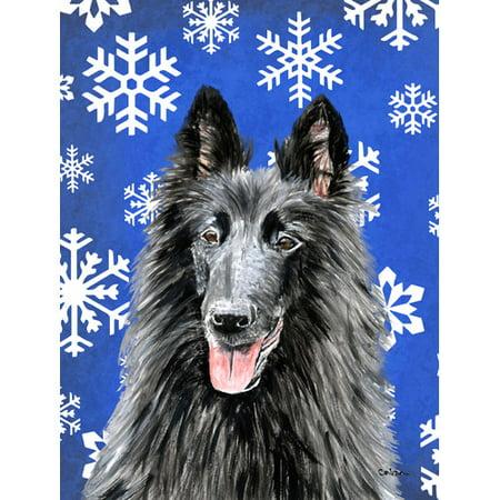Belgian Sheepdog Winter Snowflakes Holiday Flag