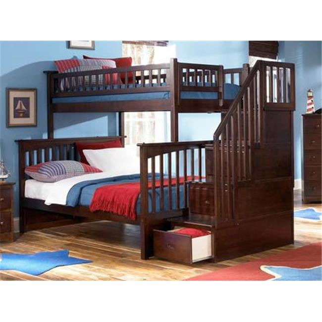 Columbia Stair Bunk, Twin Over Full Size - Antique Walnut