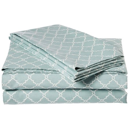 MP20-2362 Fretwork Cotton Sheet Set, California King, Aqua, Set includes: 1 flat sheet, 2 pillowcases, 1 fitted sheet By Madison (Madison Fitted Sheet)