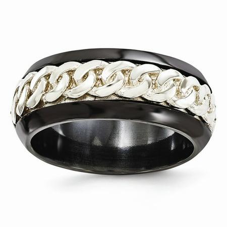 Black Titanium Men's and 925 Sterling Silver Men's Beveled Casted 9mm Men's Wedding Band Ring Size 9.5