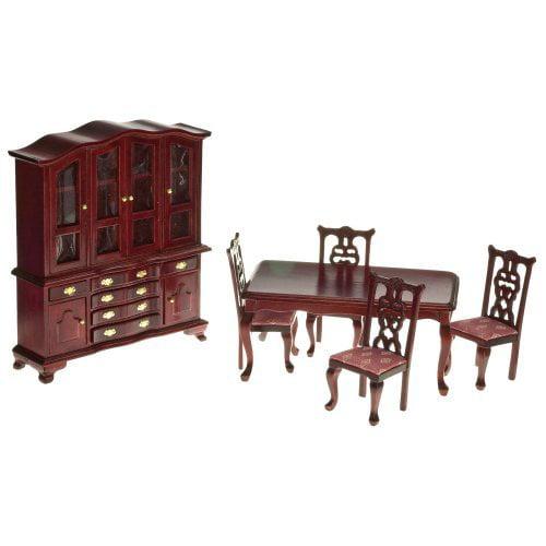 Mahogany & Rose Dining Room Dollhouse Miniature Set