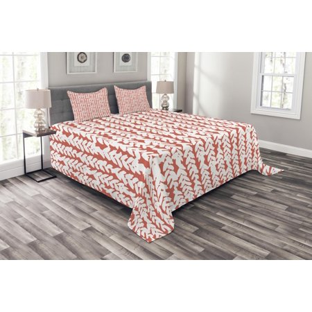 Braided Oval Quilt (Coral Bedspread Set, Hand Painted Braids Vertical Pattern Bohemian Hipster Fashion Chevron Ethnic Artwork, Decorative Quilted Coverlet Set with Pillow Shams Included, Coral White, by)