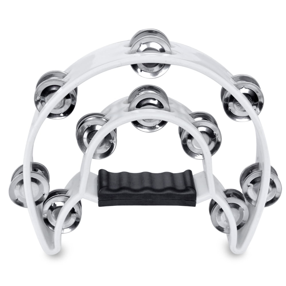 Half Moon Musical Tambourine (White) Double Row Metal Jingles Hand Held Percussion Drum... by