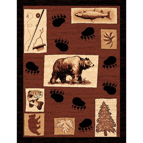 DonnieAnn Company Lodge Design Fish/Bear Novelty Rug
