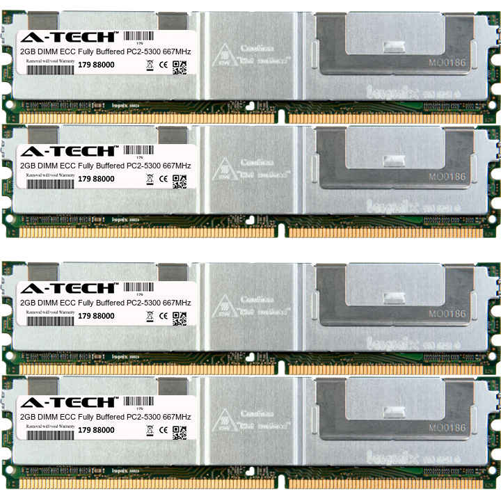 8GB Kit 4x 2GB Modules PC2-5300 667MHz ECC Fully Buffered DDR2 DIMM Server 240-pin Memory Ram