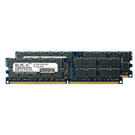 2GB 2X1GB Memory RAM for Tyan M Series M4985 Expansion Board, M-5100 DX Server, M-5300 DX Server 240pin PC2-5300 667MHz DDR2 RDIMM Black Diamond Memory Module Upgrade