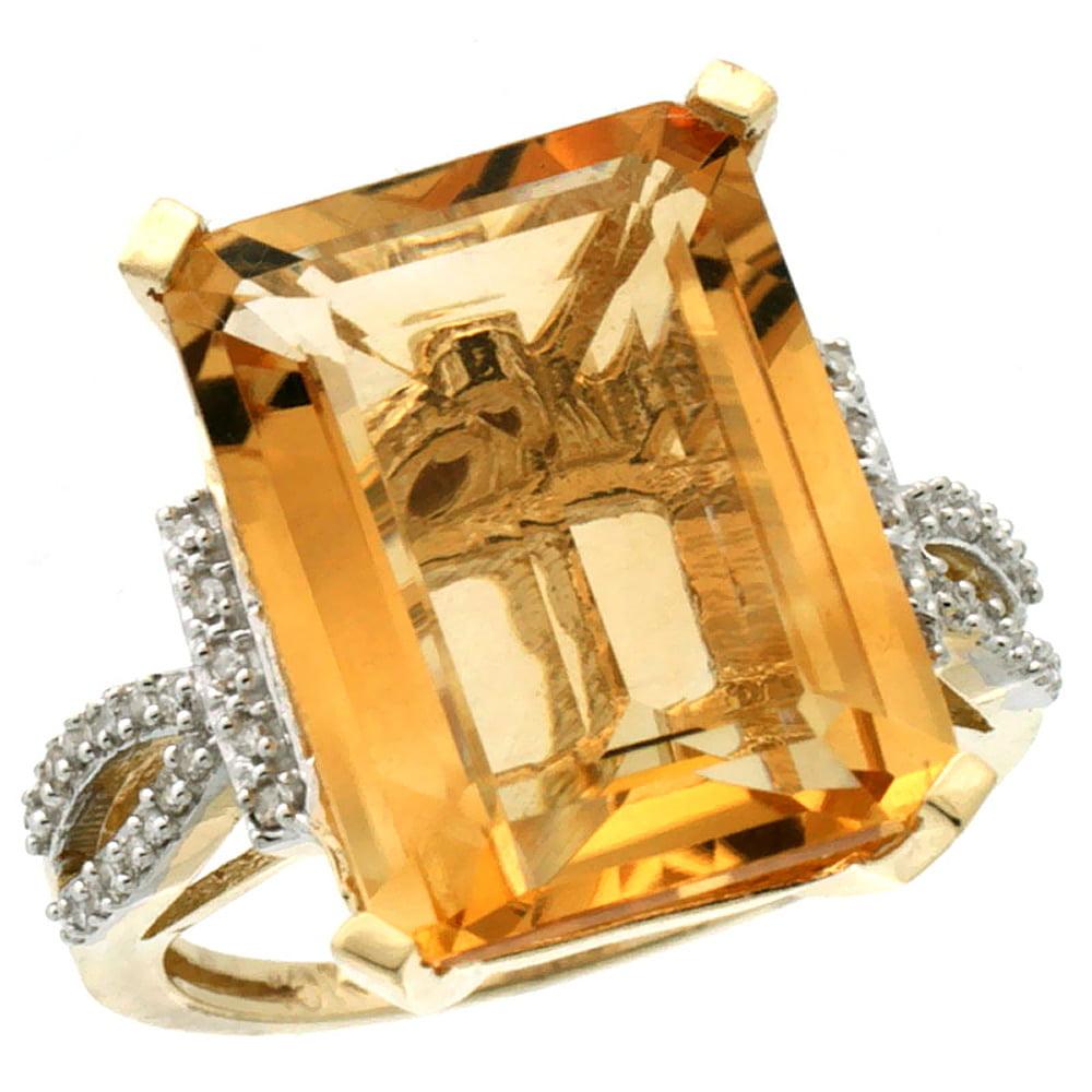 10K Yellow Gold Diamond Natural Citrine Ring Emerald-cut 16x12mm, sizes 5-10 by WorldJewels