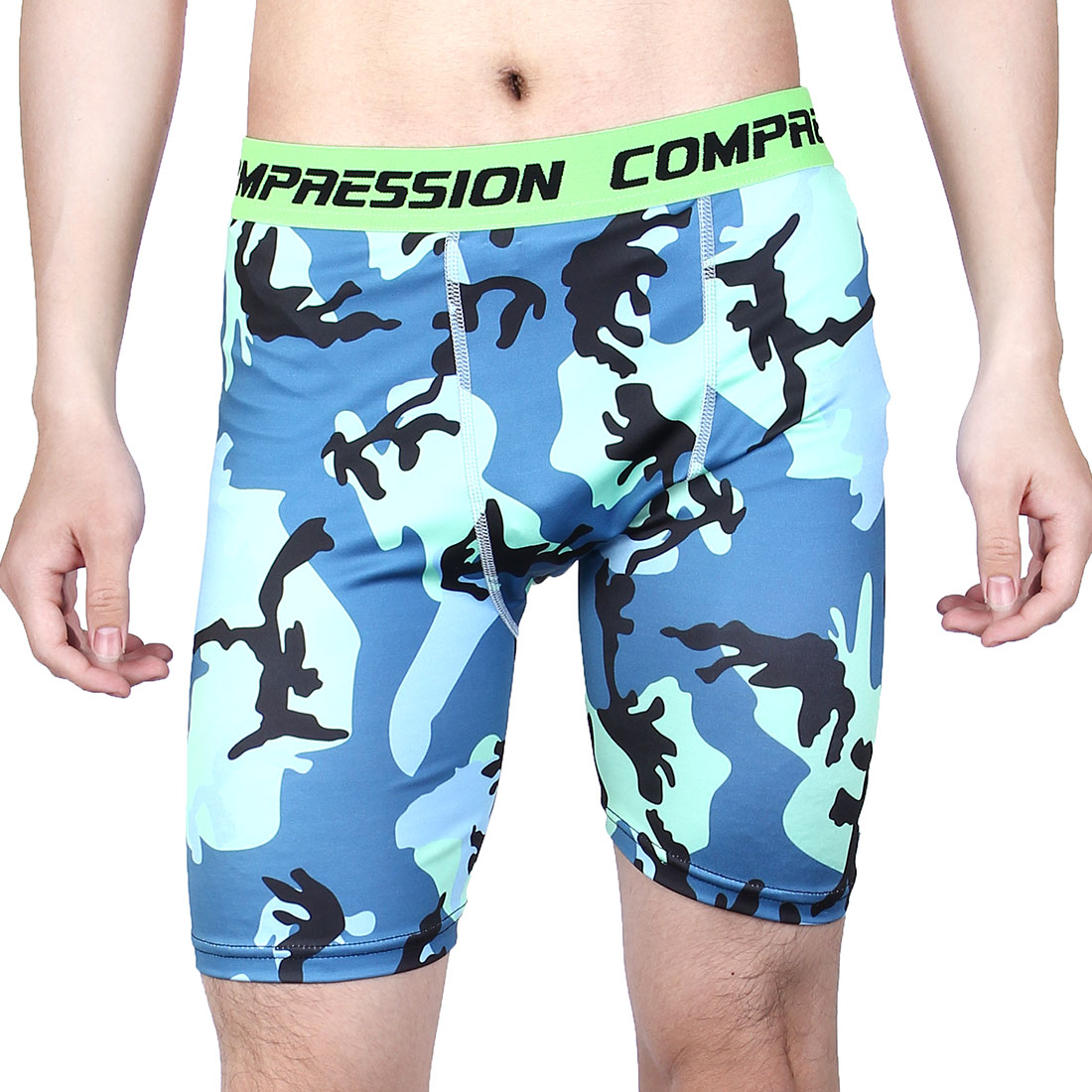Men Polyester Fiber Compression Base Layer Short Pants Green Camouflage L US W28 by