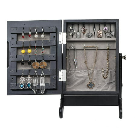 Ktaxon Jewelry Cabinet Armoire with Mirror Organizer Armoire Storage Box Countertop with Stand Black ()