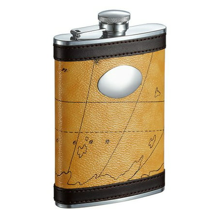 Visol Globe Yellow and Brown Liquor Flask - 8 ounce - image 1 of 1