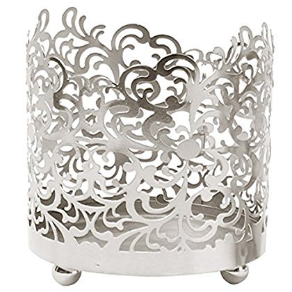 Hosley's 4.5' High, Lace Jar Candle Sleeve,Tea Light Lantern. Silver Finish. Ideal Gift ,Weddings, for Spa, Aromatherapy, home, Votive garden ()