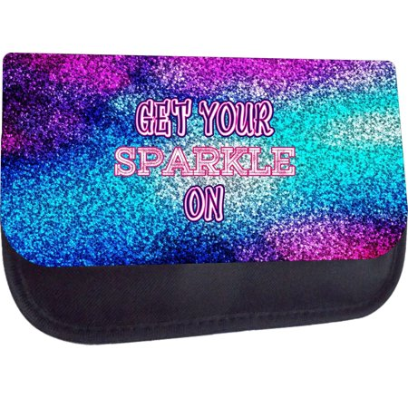 Get Your Sparkle On-Faux Glitter PRINT-Blue/Purple - Black Medium Sized Cosmetic Case - Makeup Bag - Nylon Lined - with 2 Zippered Pockets