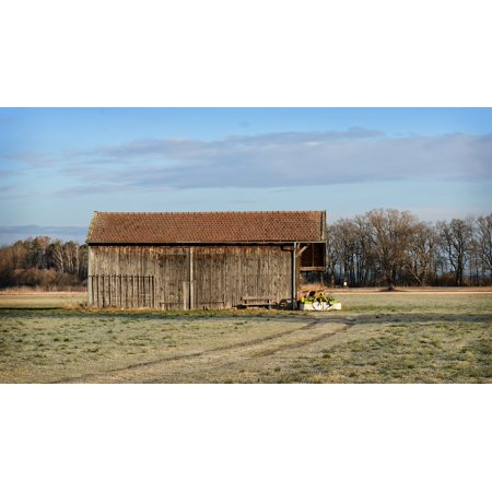 LAMINATED POSTER Nature Field Log Cabin Barn Hut Vacation Meadow Poster Print 24 x 36