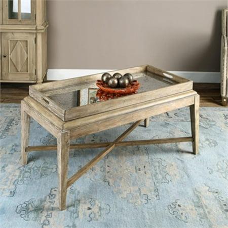 48 Weathered Gray Washed Poplar Rectangular Coffee Table W Oversized Tray