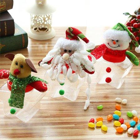1Pcs Plastic Candy Jar Christmas Theme Small Gift Bags Christmas Candy Box Christmas Crafts Home Party Decorations - Christmas Theme Party Decorations