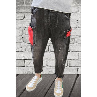 Kids Boys Straight Leg Black Jeans Pant