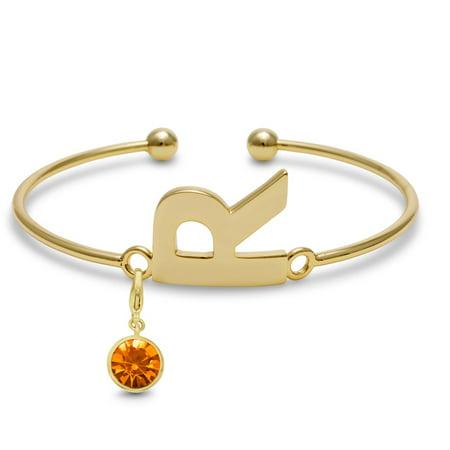 Initial Bangle Bracelet With Citrine Crystal Birthstone, For November Babies