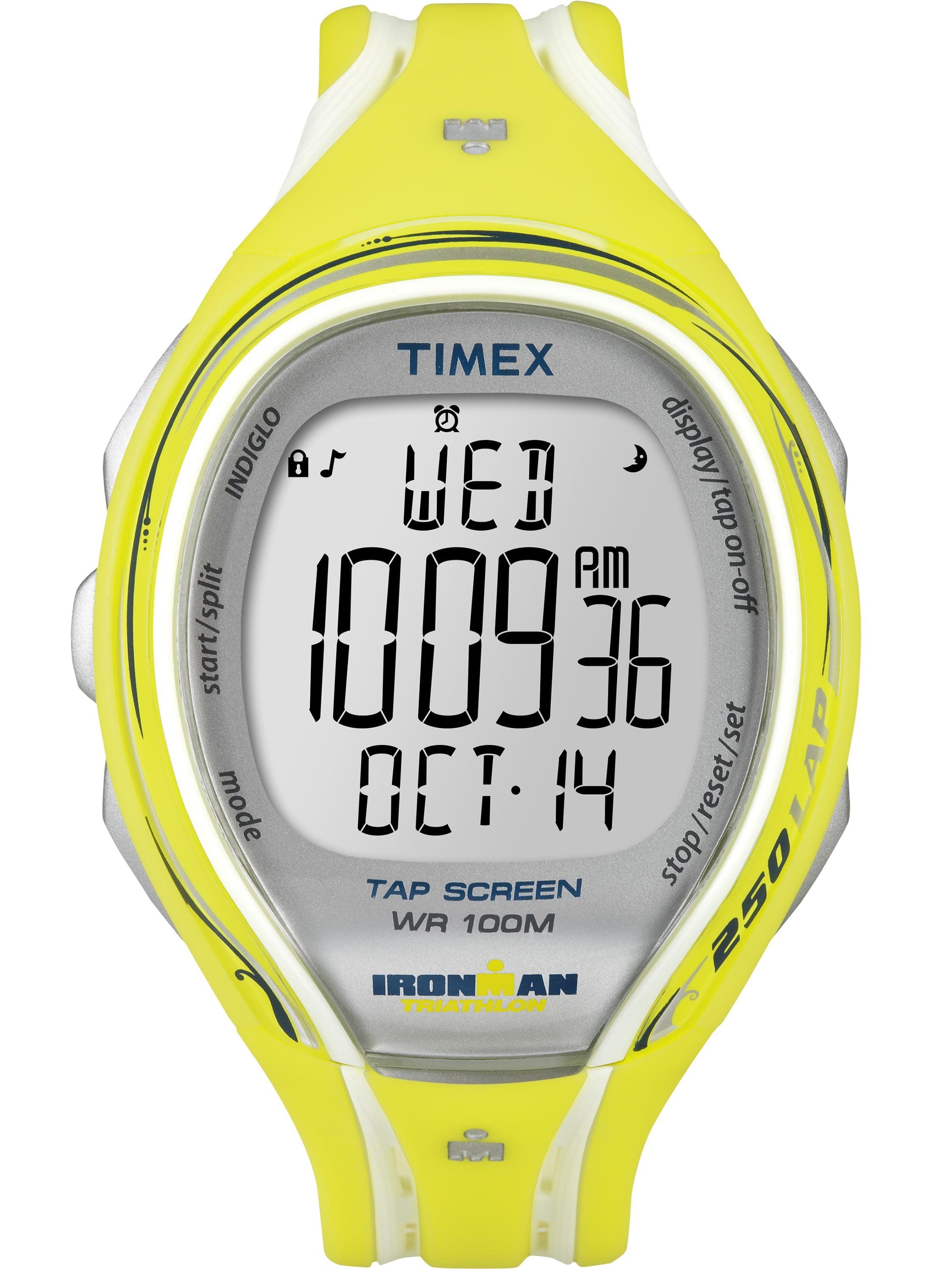 Timex  Women's T5K789 Ironman Sleek 250 TapScreen Yellow Resin Strap Watch
