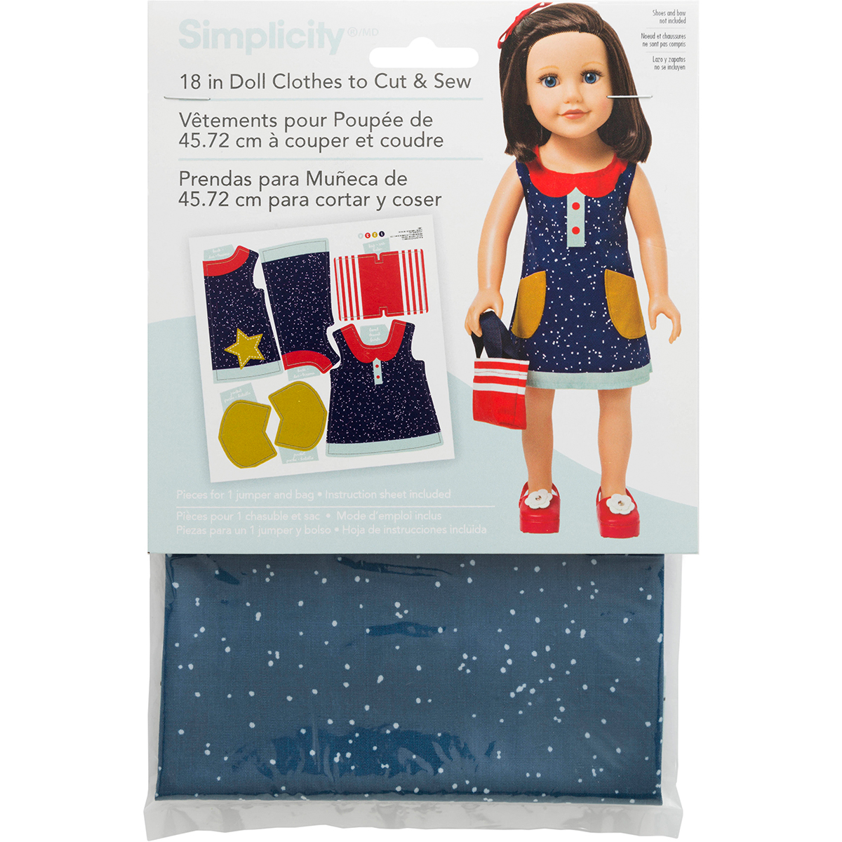 """18"""" Doll Clothes To Cut & Sew-Navy Dress W/Red & White Purse"""