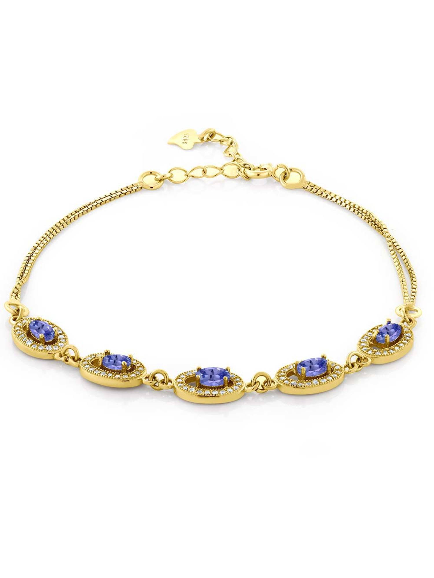 1.63 Ct Oval Blue Tanzanite 18K Yellow Gold Plated Silver Bracelet by