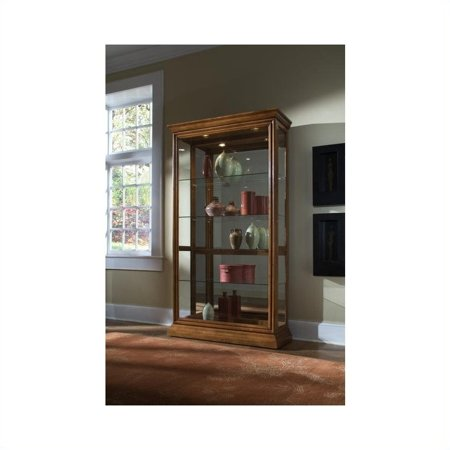 Tall Sliding Door Curio (Pulaski 2 Way Sliding Door Curio Cabinet in Golden Oak )