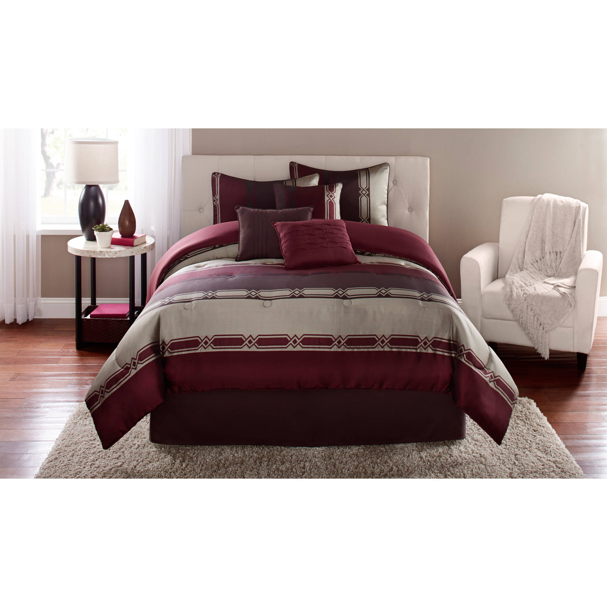 Mainstays Umbridge 7-Piece Bedding Comforter Set, Red