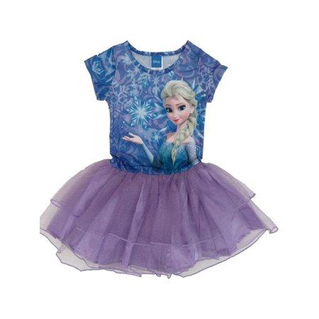Short Sleeve Tutu - Disney Little Girls Purple Blue Frozen Elsa Print Short Sleeve Tutu Dress 6/6X