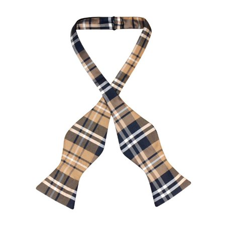 Vesuvio Napoli SELF TIE BowTie Navy Blue Brown White Color PLAID Men