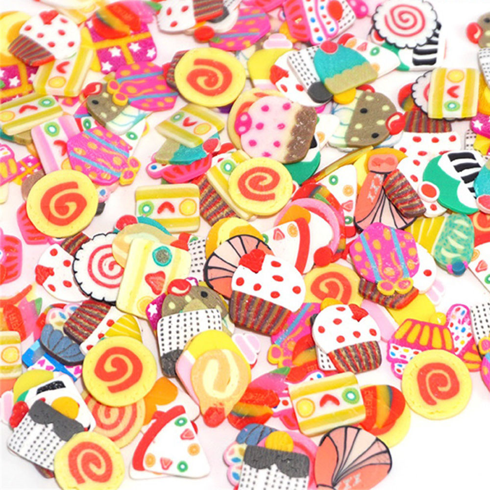 Iuhan 50PCS Colorful DIY 3D FIMO Slice Face Decoration for Homemade Slime Making Craft