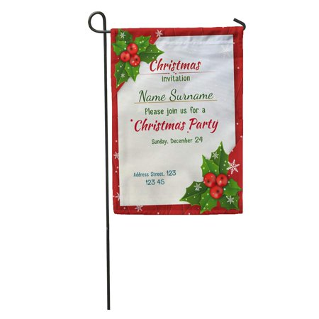 LADDKE Green Holly Christmas Satin Ribbons Red Jolly Party Berries Best Garden Flag Decorative Flag House Banner 12x18