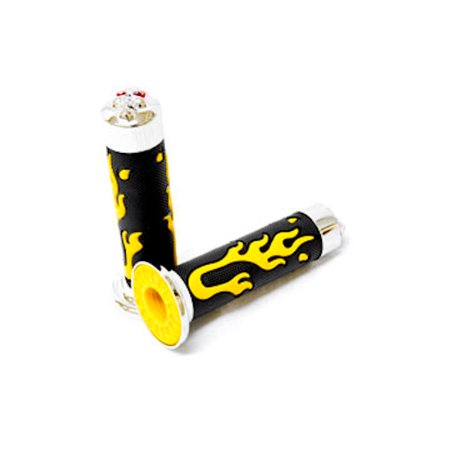 Kapsco Moto ATV / PWC Chrome Skull Hand Grips Yellow Flame Set For Arctic Cat Rally - image 2 of 5