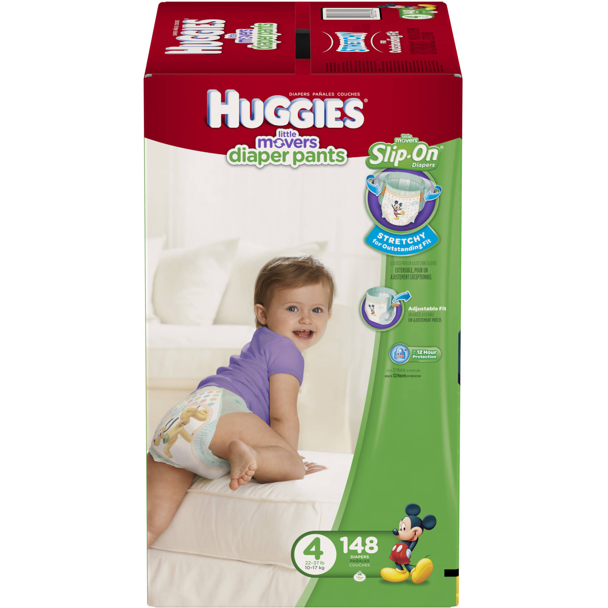 HUGGIES Little Movers Slip-On Diapers, Economy Plus Pack (Choose Your Size)