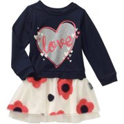 Toddler Girls' French Terry and Chiffon Dress