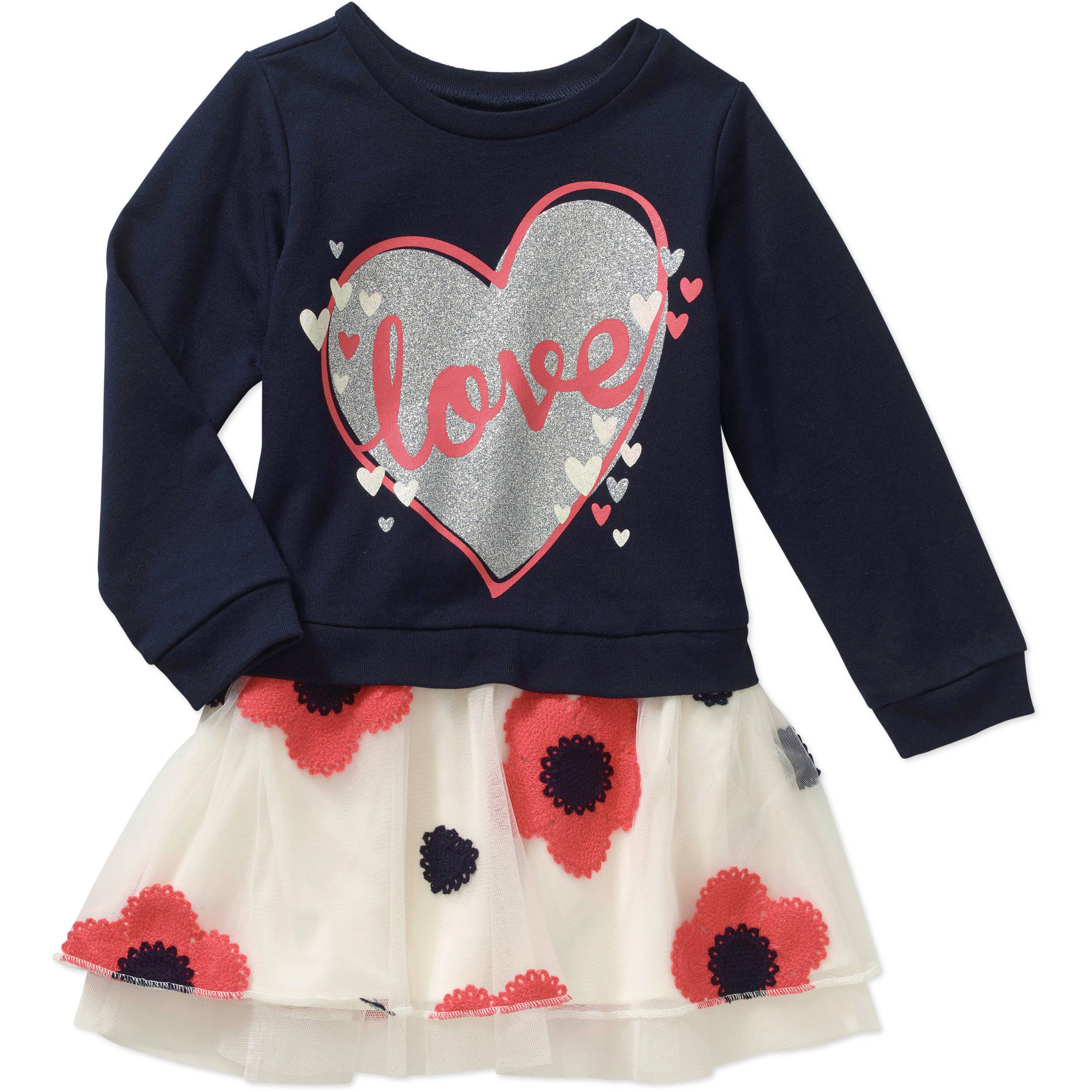 Healthtex Toddler Girls' French Terry and Chiffon Dress