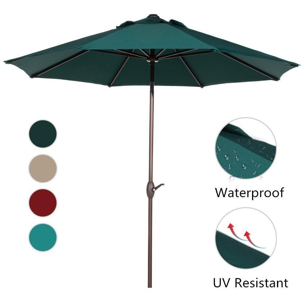 Abba Patio 9 Ft Aluminum Market Umbrella with Push Button Tilt and Crank, 8 Steel Ribs, Dark Green