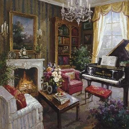 Grand Piano Room Canvas Art Foxwell 24 X 24