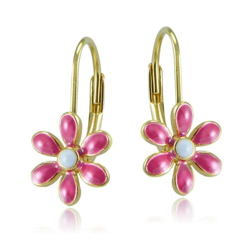 Mondevio 18k Gold over Silver Enamel Daisy Flower Children's Leverback Earrings Red