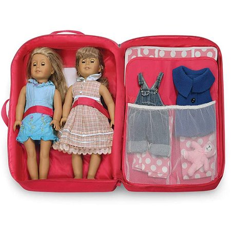 Badger Basket Double Doll Travel Case with Bunk Bed and Bedding, Dark Pink, Fits Most 18