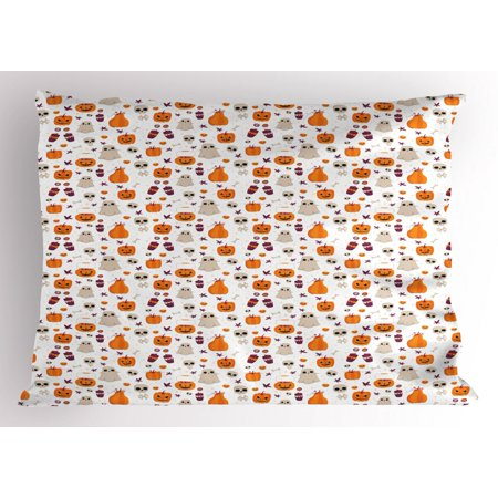 Ghost Pillow Sham, Cartoon Pattern of Pumpkin Ghost Skull and Other Elements Inspired by Halloween Party, Decorative Standard Queen Size Printed Pillowcase, 30 X 20 Inches, Multicolor, by Ambesonne](Element Halloween Party)