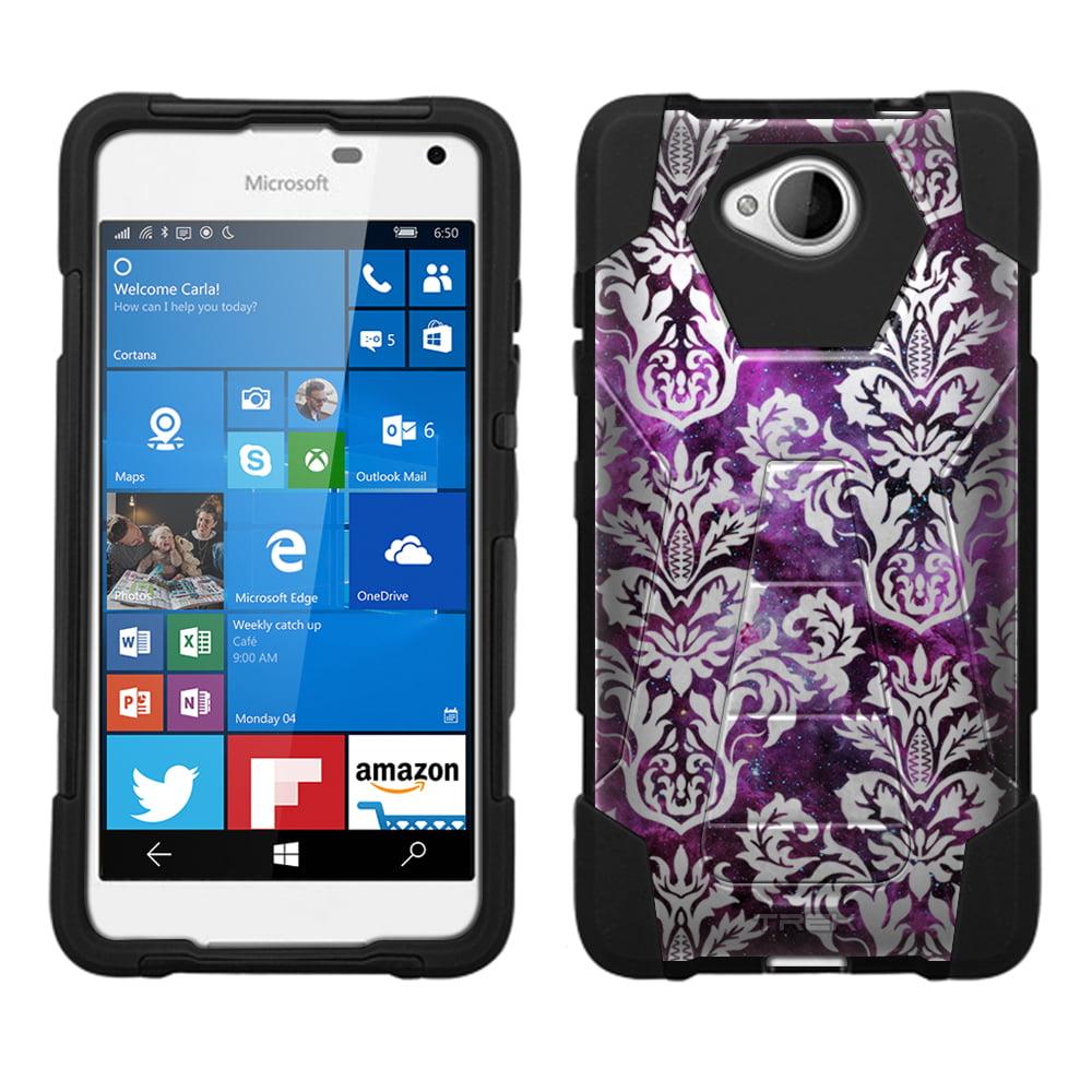 Microsoft Lumia 650 Hybrid Stand Case - Damask Floral White on Nebula