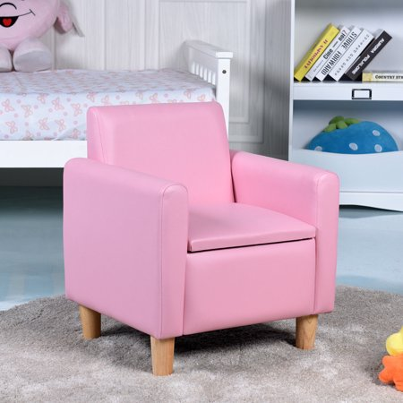 Gymax Single Kids Sofa Armrest Chair Wood Construction w Storage Box Living Room Pink ()