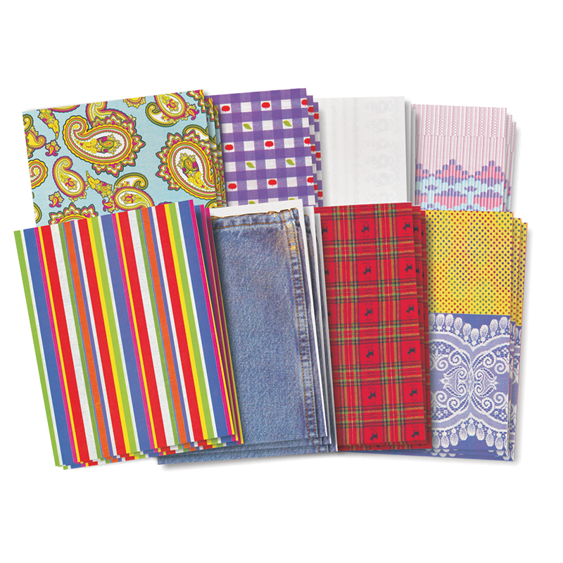 Roylco Assorted Pattern Fabric Paper Design, 8-1/2 x 11 Inches, 40 Sheets