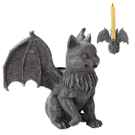 Cat Gargoyle Candle Holder Home Decor Statue Made of Polyresin, Item is made of polyresin, hand painted and polished. By Pacific Trading