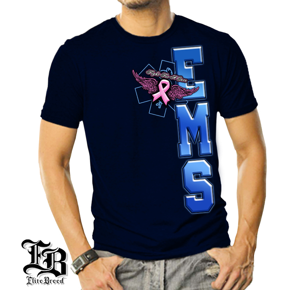 Cotton Elite Breed EMS Fight Cancer T-Shirt