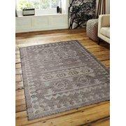 Rugsotic Carpets Hand Woven Kilim Jute 5'x8' Eco-friendly Area Rug Oriental White Beige J00029